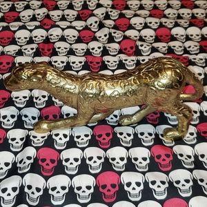 Threshold Accents - Gold Metal Leopard Statue Figurine